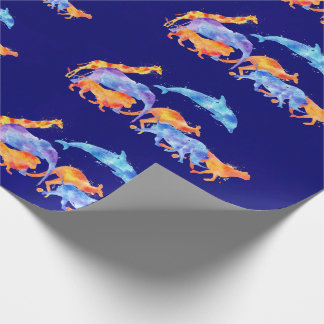 Wild Animals Running Together Colorful Watercolor Wrapping Paper