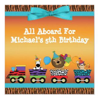 Wild Animals Train Ride Tiger Stripes Birthday 13 Cm X 13 Cm Square Invitation Card
