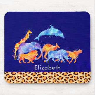 Wild Animals with a Leopard Print Border Mouse Mat