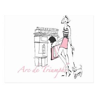 Wild Apple   Arc De Triomphe - Girly Sketch Postcard