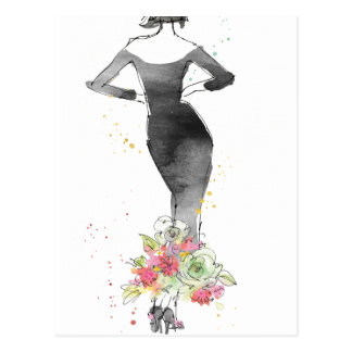 Wild Apple | Chic Floral Dress Sketch Postcard