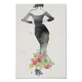Wild Apple | Chic Floral Dress Sketch Poster