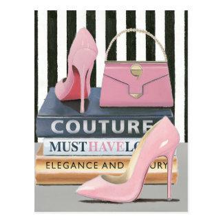 Wild Apple   Couture Stripes - Shoes & Bag Postcard