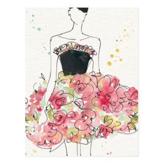 Wild Apple | Glamorous Floral Dress Sketch Postcard