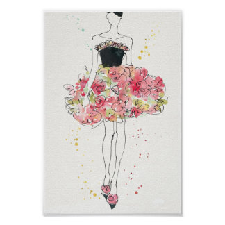 Wild Apple | Glamorous Floral Dress Sketch Poster