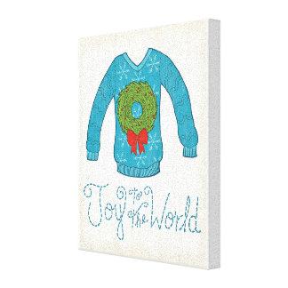Wild Apple | Joy To The World - Christmas Sweater Canvas Print