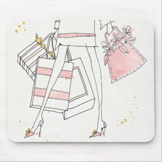 Wild Apple | Modern Pink Fashion Sketch Mouse Mat