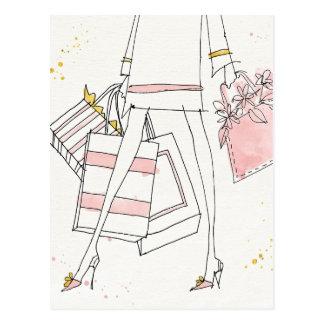 Wild Apple   Modern Pink Fashion Sketch Postcard
