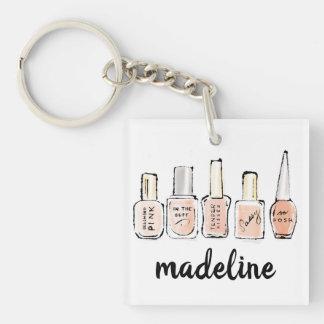 Wild Apple | Modern Pink Nail Polish Sketch Key Ring