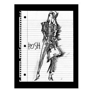 Wild Apple   Posh - Edgy Vintage Sketch Postcard