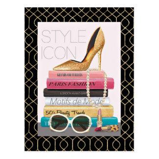 Wild Apple   Style Icon - Gold Stiletto Postcard