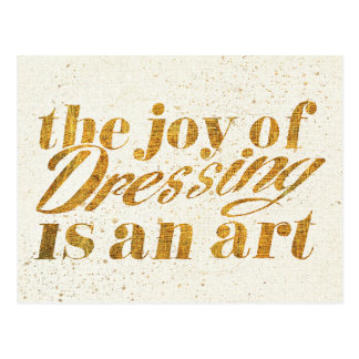 Wild Apple   The Joy Of Dressing - Girly Quote Postcard