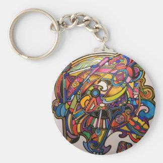 wild art deco vibrant graphic design key ring
