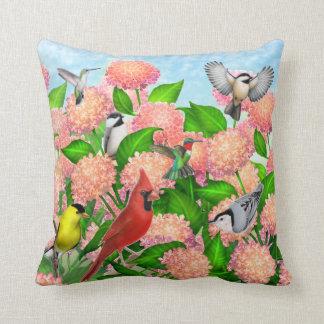 Wild Backyard Birds on Hydrangea Flowers Pillow