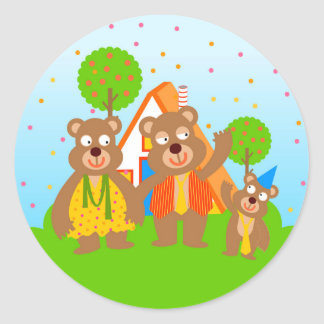 Wild bear boy first birthday party classic round sticker