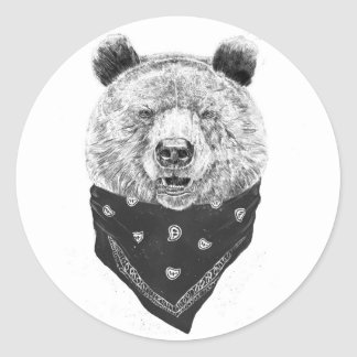 Wild bear classic round sticker