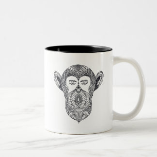 Wild Beast Of The Forest Doodle Two-Tone Coffee Mug