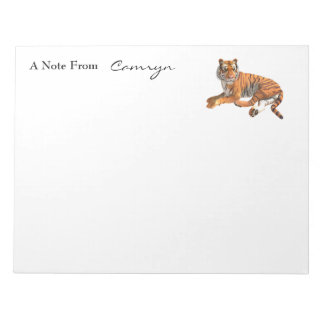 Wild Big Cat Tiger Over Black Personalized Name Notepad