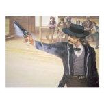 'Wild Bill' Hickok (1837-76) demonstrates his mark Postcard