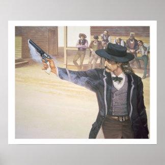 'Wild Bill' Hickok (1837-76) demonstrates his mark Poster