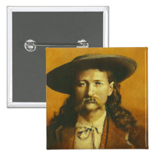 Wild Bill Hickok Illustration 15 Cm Square Badge