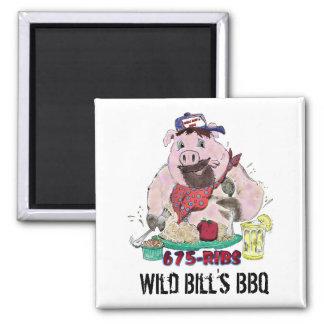 WILD BILL'S BBQ SQUARE MAGNET