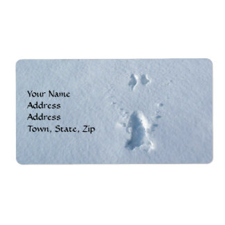 Wild Bird Footprints in Snow Shipping Label