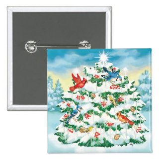 Wild Birds in Nature with Starlit Christmas Tree 15 Cm Square Badge