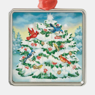 Wild Birds in Nature with Starlit Christmas Tree Christmas Ornament