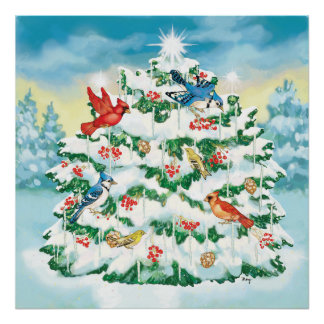 Wild Birds in Nature with Starlit Christmas Tree Poster