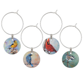 Wild Birds Original Art Wine Charm
