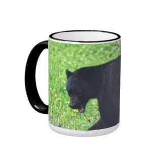 Wild Black Bear Walking in Grass 3 Ringer Mug