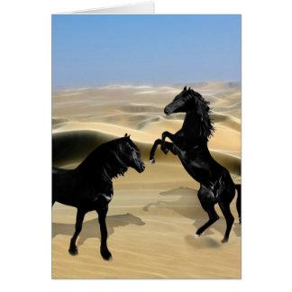 Wild black beauty horses greeting card