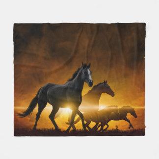 Wild Black Horses Fleece Blanket