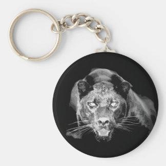 Wild Black Jaguar Cat Roars Keychain