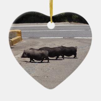 Wild Black Pigs Christmas Ornament
