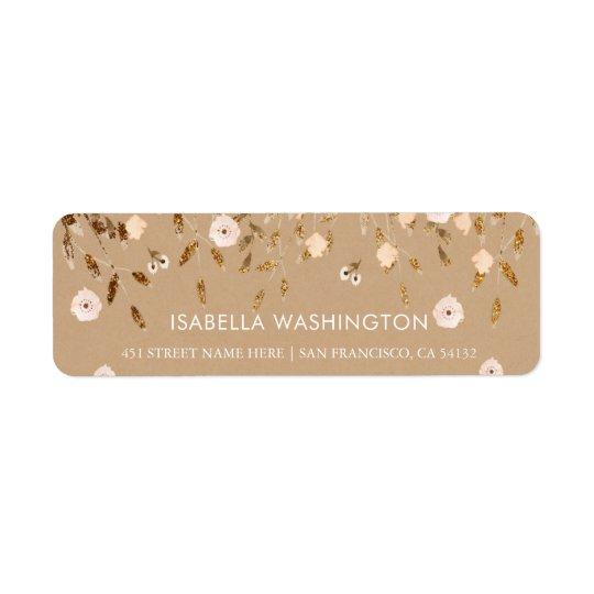 Wild Blossom | Gold Glitter Floral Elegant Kraft Return Address Label