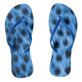 Wild Blue Spotted Cheetah Fur Look Flip Flops