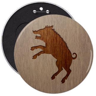 Wild boar engraved on wood design 6 cm round badge