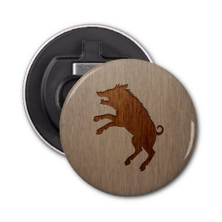 Wild boar engraved on wood design bottle opener