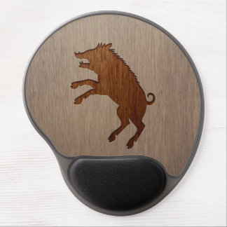 Wild boar engraved on wood design gel mouse mat