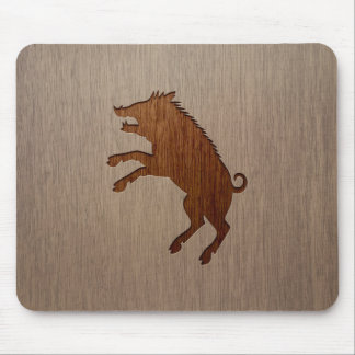 Wild boar engraved on wood design mouse mat