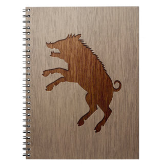 Wild boar engraved on wood design notebook