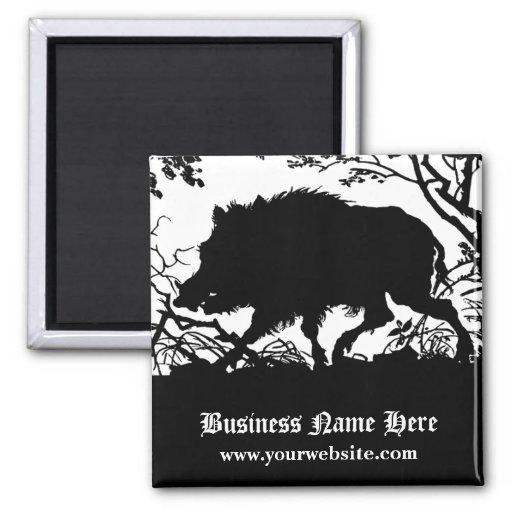 Wild Boar in a Forest - Antique German Silhouette Fridge Magnet