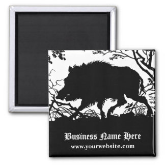 Wild Boar in a Forest - Antique German Silhouette Square Magnet