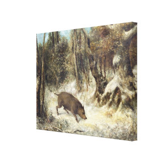 Wild Boar in the Snow, signed as Courbet (fake) Canvas Print