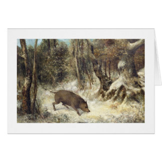Wild Boar in the Snow, signed as Courbet (fake) Card