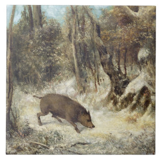 Wild Boar in the Snow, signed as Courbet (fake) Large Square Tile