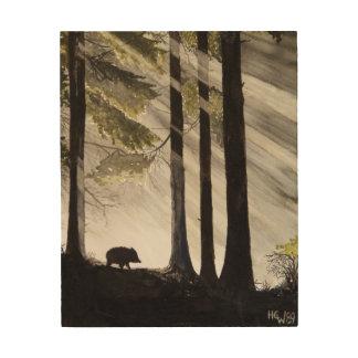 Wild Boar in the Woods Wood Print