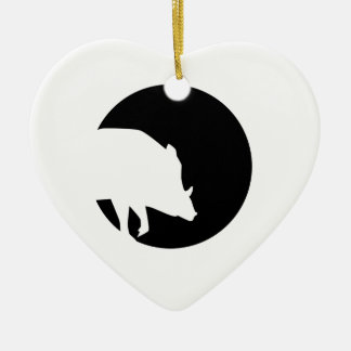Wild boar moon christmas ornament